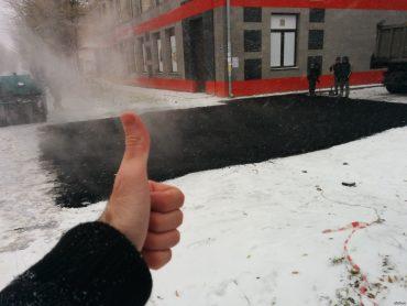 Асфальт на снег